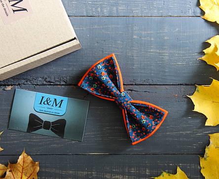 Галстук-бабочка I&M Craft синяя с цветочками (020026), фото 2