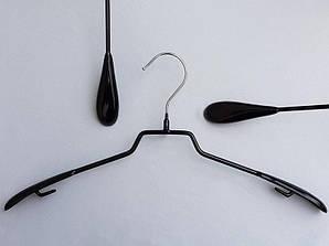 Плечики металлические в силиконовом покрытии широкие черные, 42 см
