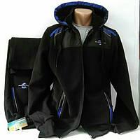 Тёплый спортивный костюм из натуральной (80% хлопка) ткани, чёрный, Турция, Soccer, размеры  48, 52.