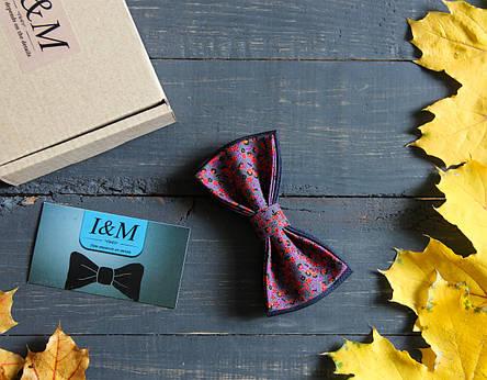 Галстук-бабочка I&M Craft бордовый с цветным принтом(010232), фото 2