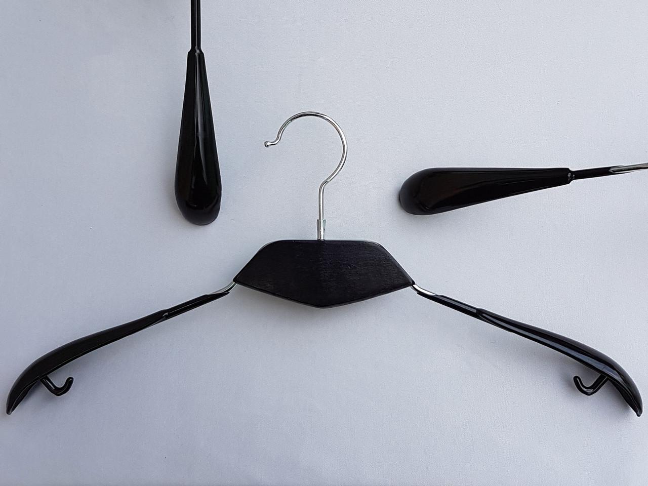 Плечики металлические в силиконовом покрытии широкие с вставкой из дерева  черные, 43 см