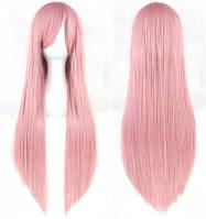 Парик розовый длинный аниме карнавальный косплей cosplay прямой ровный