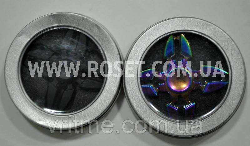 Спиннер - Fidget Spinner Suriken Хамелеон Черный 4-лепестковый 2 цвета SP2