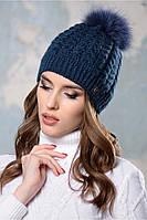 Женская шапка Лиана с натуральным помпоном енота на флисе