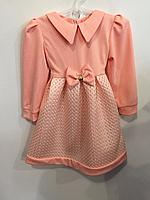 Нарядное персиковое платье для девочек р. 92,98,110