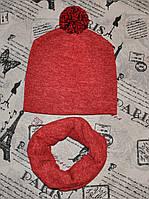 Комплект: вязаная шапка и хомут на флисовой подкладе
