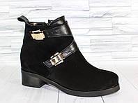 Зимние ботинки с пряжками. Классический каблук. Натуральная кожа. 1499