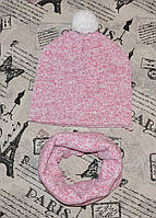 Подростковый комплект: вязаная шапка и хомут на флисовой подкладе