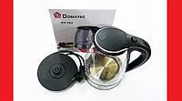 Domotec DT-702 2L Чайник электрический (стеклянная колба)  LED подсветка (Черный)