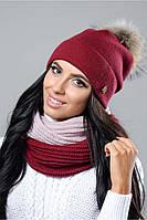 Женская шапка Бьянка с натуральным помпоном енота на флисе