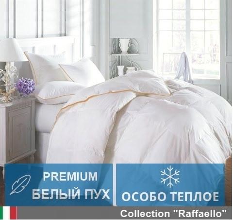Одеяло двуспальное пуховое Зимнее Raffaello 172x205 Белый пух 100% Екстра премиум MirSon 063