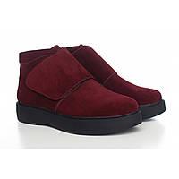 Бордовые замшевые ботинки на толстой подошве