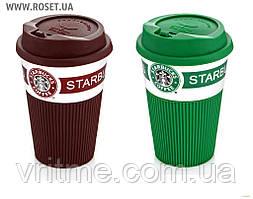 Чашка прогумована керамічна кружка Старбакс з кришкою-поїлкою Starbacks Green/Brown 350 мл