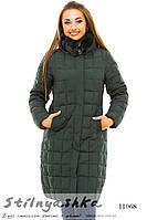 Теплая длинная зимняя куртка для полных темно-зеленая