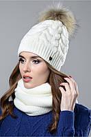 Женская шапка Шакира с натуральным помпоном енота на флисе