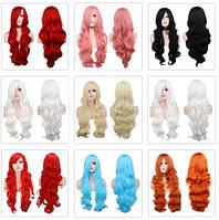 Парик Анимэ Косплэй голубой,черный, белый,красный ... разные цвета, разная длина, лучшее качество!