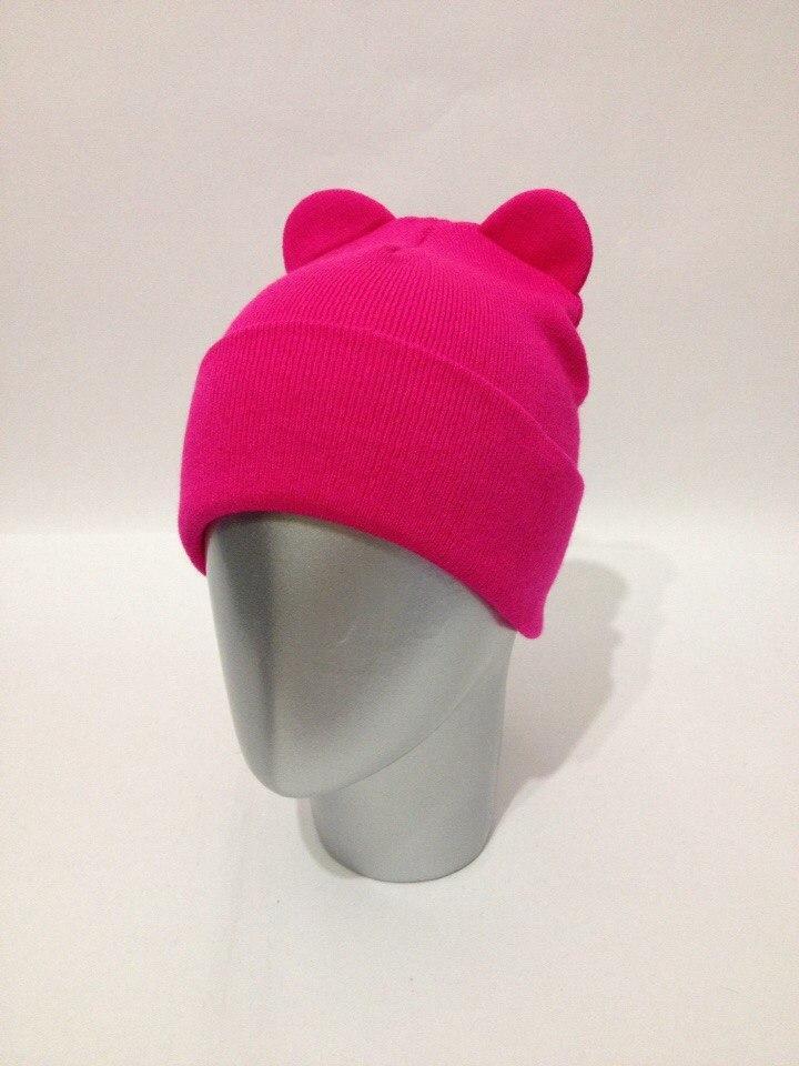 Милая розовая зимняя шапка с ушками, с подворотом