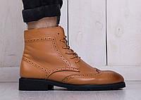 Мужские ботинки на меху рыжие, черные