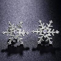 Серьги серебряные Белоснежные снежинки, фото 1