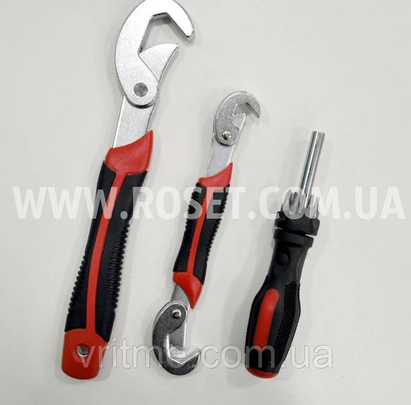 Набор универсальных самозажимных ключей - Snap n Grip + отвертка магнитная с 6-ю насадками (битами)