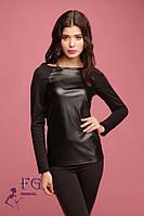 Женский стильный джемпер с кожаными вставками