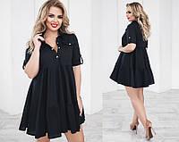 Платье женское до колен, материал - коттон, цвет - черный