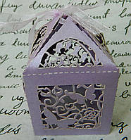 Бонбоньєрка весільна 6403-4 сірень Бонбоньерка свадебная сирень