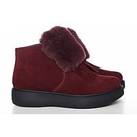 Бордовые замшевые ботинки с мехом 0515-14