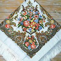 Большой женский платок белого цвета (135х135см, белый, 80%-шерсть)