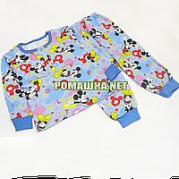 Детская байковая пижама с начесом р. 92-98 ткань ФУТЕР 100% хлопок ТМ Алекс 3487 Голубой В 98