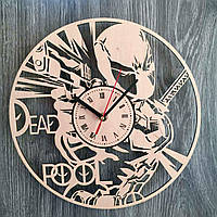 Оригинальные настенные часы из дерева «Дэдпул», фото 1