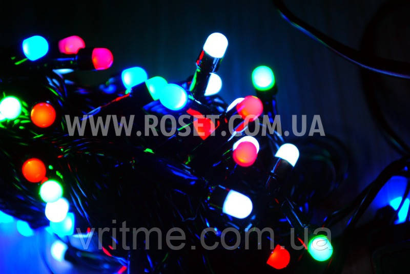 Гирлянда новогодняя нить (черный провод) мультицветовая 100 LED светодиодов 6,5 м