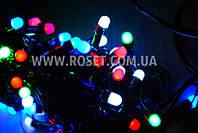 Гирлянда новогодняя нить (черный провод) мультицветовая 100 LED светодиодов 6,5 м, фото 1