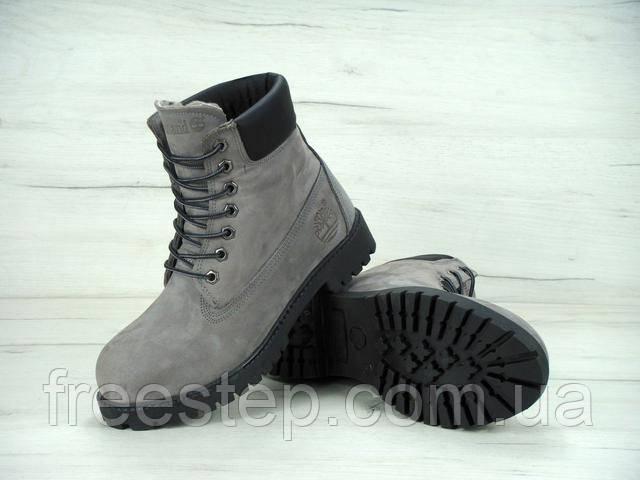 9faf2c7b1 Мужские зимние ботинки в стиле Timberland, нубук, мех, серые ...