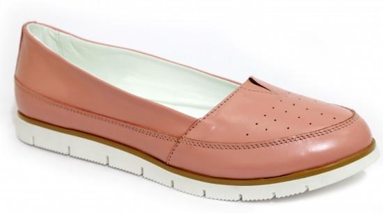 Туфли женские на низком ходу, натуральная кожа цвета пудры.