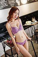 Красивый нежный фиолетовый сиреневый набор комплект нижнего женского белья рр 80С