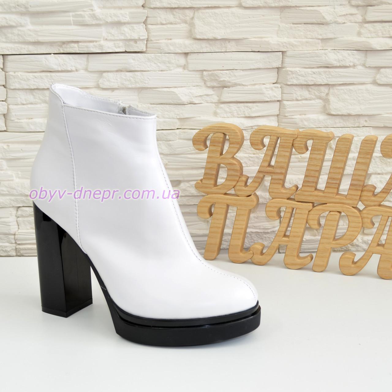 Ботинки демисезонные женские классические на высоком каблуке, из натуральной кожи, цвет белый.