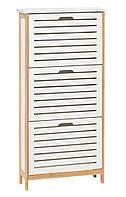 Шкаф для обуви BROBY 3від. бамбук/белый M3674154