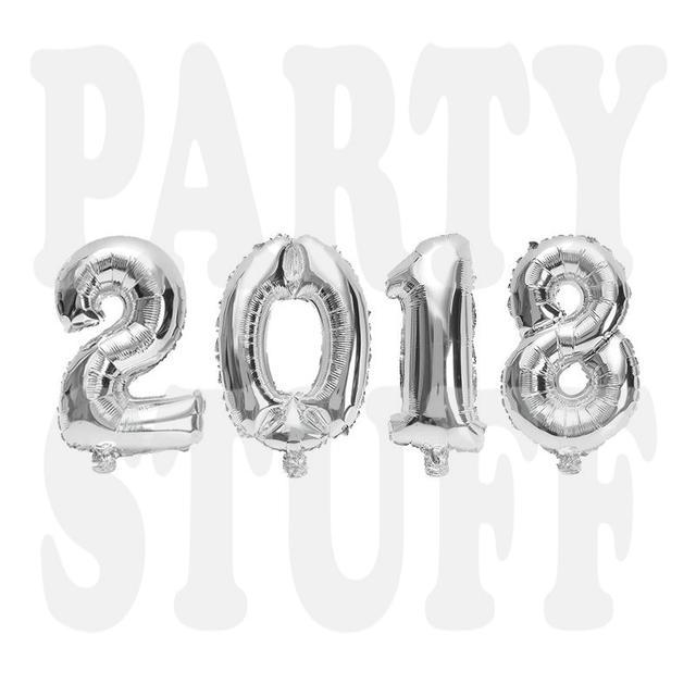фольгированные цифры 2018 серебро