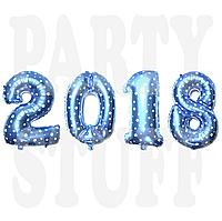 Набор фольгированных шариков 2018 Голубые, 70 см