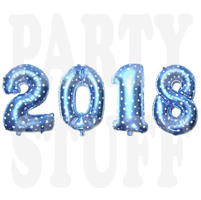 набор фольгированных шариков 2018 голубые