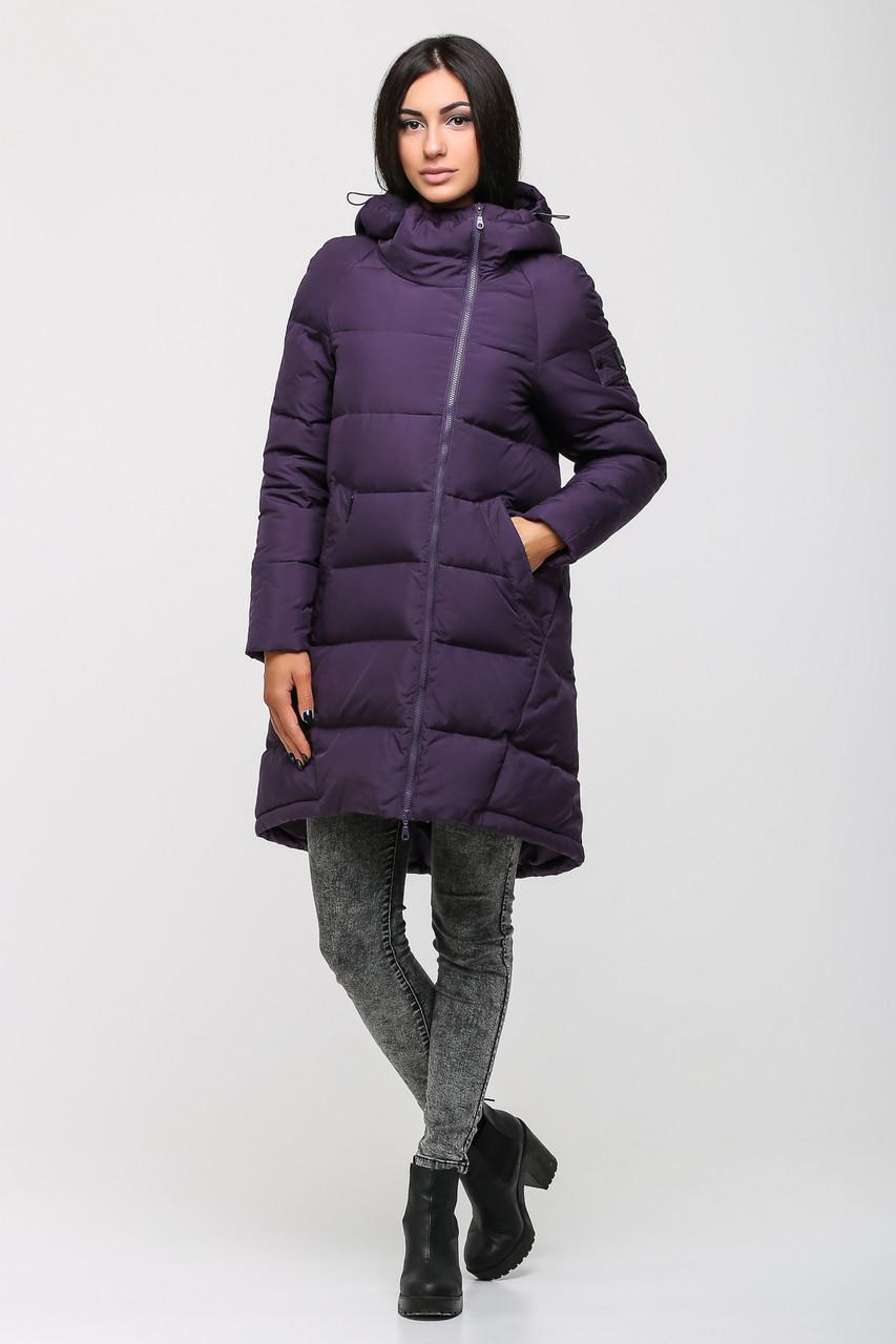 Модный удлинённый женский пуховик фиолетового цвета MSD-P507B