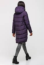 Модный удлинённый женский пуховик фиолетового цвета MSD-P507B, фото 3