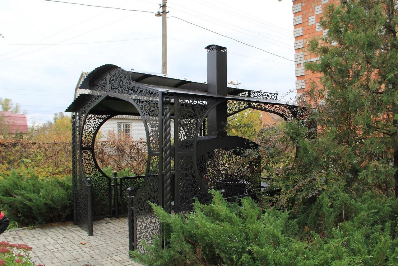 """Беседка """"Анталия"""" с мангальной зоной """"Тамерлан"""" (цвет черный/коричневый)"""