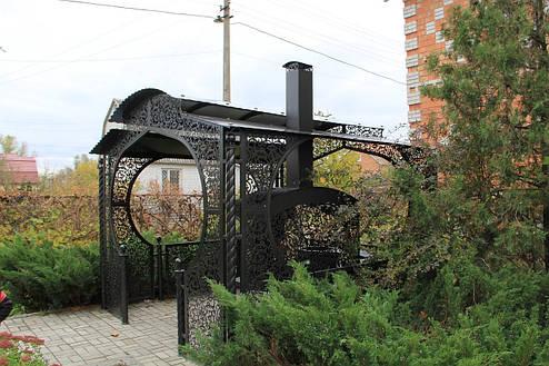 """Беседка """"Анталия"""" с мангальной зоной """"Тамерлан"""" (цвет черный/коричневый), фото 2"""