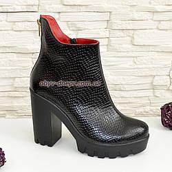 """Ботинки женские демисезонные на устойчивом каблуке, натуральная красная кожа и кожа """"питон""""."""
