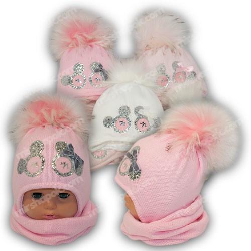 Комплект - шапка и шарф  (хомут) для девочки, p. 44-46, Ambra (Польша), утеплитель Iso Soft, C12