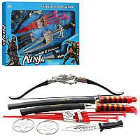Детский игровой набор ниндзя RZ1384-89, лук, стрелы-присоски 4шт, меч, сюрикен, нунчаки, 2 вид, в кор-ке,