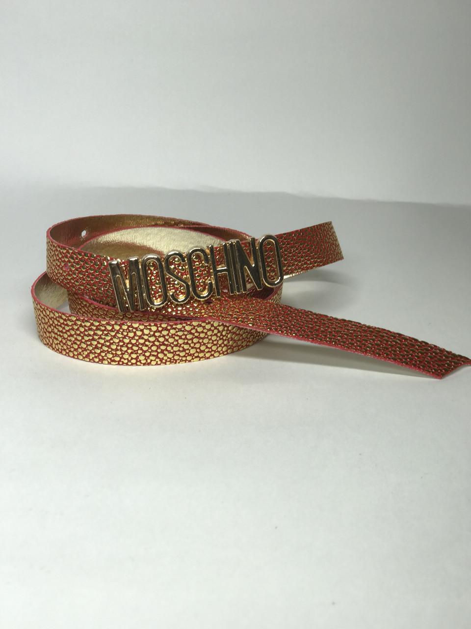 Женский ремень тонкий F242 (красный золото)