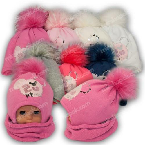 ОПТ Детский комплект - шапка и шарф (хомут) для девочки, p. 46-48, Ambra (Польша), утеплитель Iso Soft, N20 (5шт/набор)